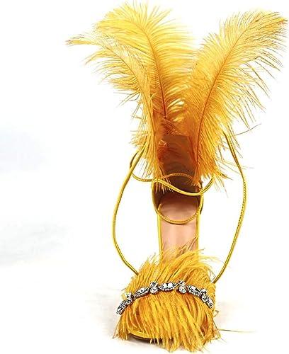 GHFJDO Talons Hauts pour Femmes, Sandales à Bout Ouvert, Chaussures de Pole Dance, Talons Aiguilles, Talons Aiguilles, Escarpins du Soir,jaune,35EU