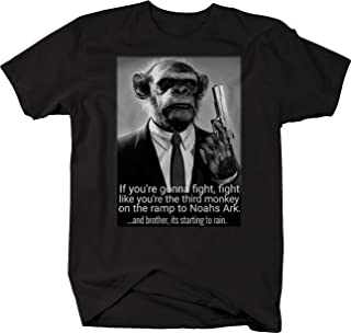 Retro Fight Like The Third Monkey Noahs Ark Suit Gun Pistol T Shirt for Men