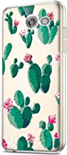 Galaxy J3 Emerge Case,J3 Eclipse/J3 Mission/J3 Prime Case,Express Prime 2 Case,Girls Women Crystal Clear Art Design Soft TPU Transparent Flexible Soft Rubber Gel TPU Case Cover,Prickly Pear Flower