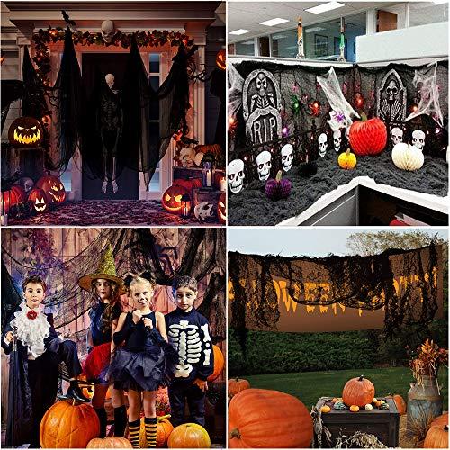 Garza Nera per Halloween, Bst4U Ghost Festival Halloween Garza di Cotone Poliestere Grande Griglia Decorazione 84,65 * 196,85 Pollici+2 Pezzi Cotone Ragno+4 Pezzi Ragno (Nero)