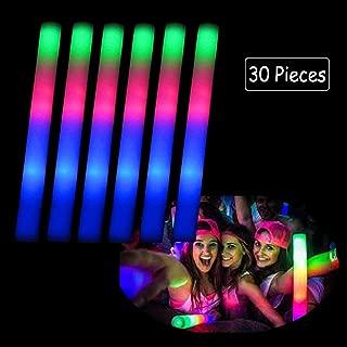 Blu7ive 30 Pieces Led Foam Sticks - Flashing Glow Sticks Party Supplies Light Up Baton Wands for Kids, Raves, Birthday, Wedding, Christmas, Halloween, Children Toy