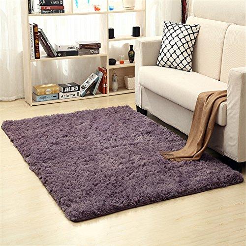 Ommda Alfombras Salon Pelo Largo de habitacion Rectángulo Modernas Gris Morado 60x120cm