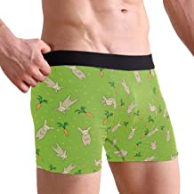 Men's Rabbit Bunnies Wth Carrots Green Underwear Boxer Briefs Ultra Soft Comfortable