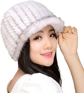 Women's Knitted Mink Fur Hat for Winter Snow Ski Caps with Visor