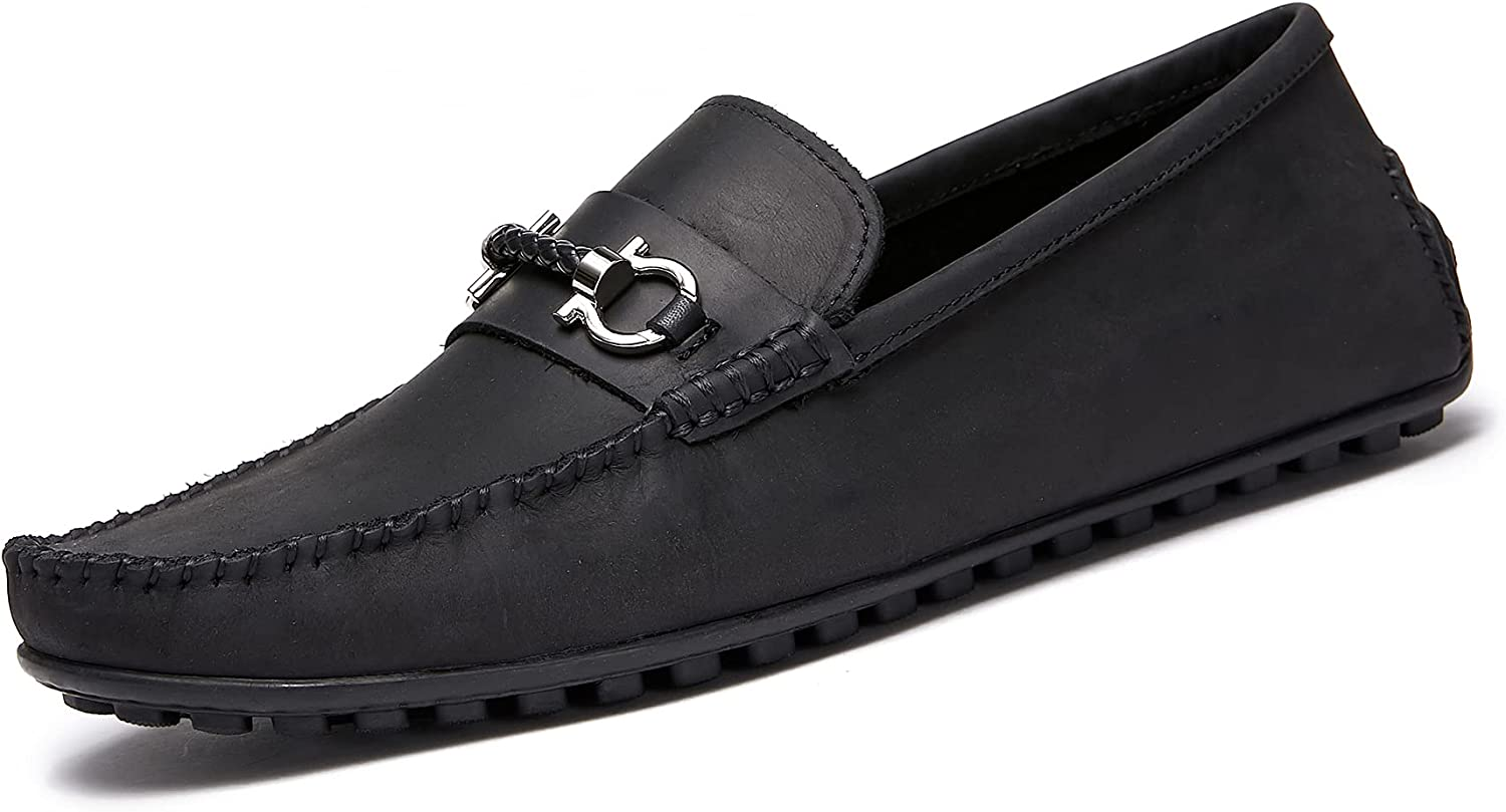Men's Loafers Driving Shoes - Leather on Loafers Breathable Doudou Shoes Lazy Shoes Cattlehide
