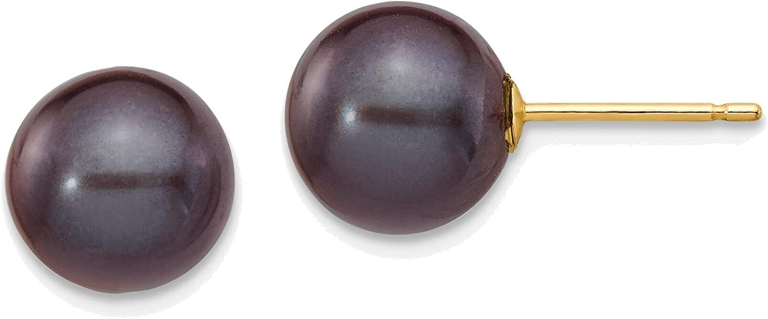 8-9mm Black Round Freshwater Cultured Pearl Stud Post Earrings in 14K Yellow Gold