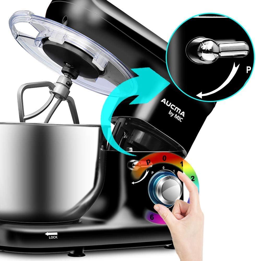 XIAOWEI Batteur sur Socle 5.5L Mélangeur à Bol en Acier Inoxydable Mélangeur électrique de Cuisine 1500W avec Crochet pétrisseur Fouet et électrique Black