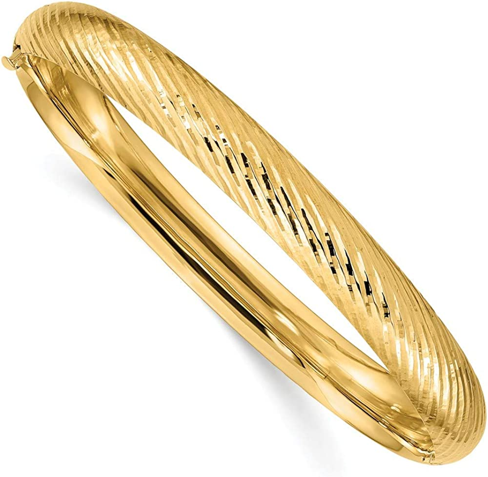 14k Yellow Gold 7.90mm Textured Hinged Bangle Bracelet Cuff Expandable Stackable Fine Jewelry For Women Gifts For Her