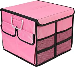 TYSKL Collapsible Car Trunk Organizer - Non Slip Bottom Strips to Prevent Sliding - Front or Back-Seat Vehicle Sedan Interior Collapsible Automotive Organize Box (Small Covered, Pink)