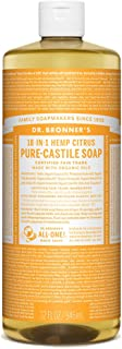 Dr. Bronner's - Pure-Castile Liquid Soap (Citrus, 32 ounce) - Made with Organic Oils, 18-in-1 Uses: Face, Body, Hair, Laundry, Pets and Dishes, Concentrated, Vegan, Non-GMO