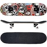 FunTomia® Skateboard monopatín rodamientos Mach1® y Rodillos de dureza 100A - Hecho con 7 Capas de Madera 100% Arce...