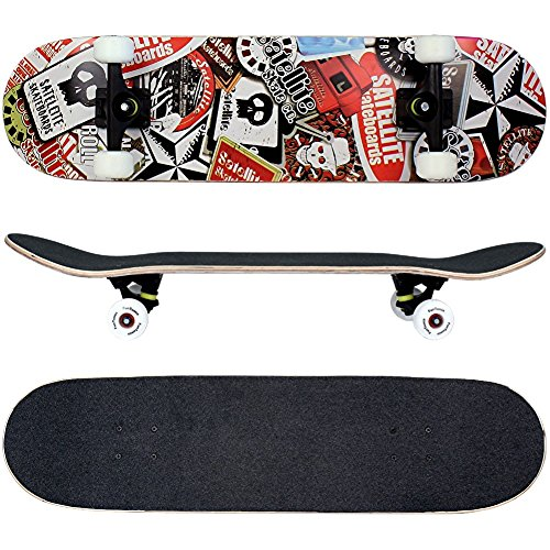 FunTomia Skateboard mit ABEC-9 Kugellager Rollenhärte 100A und 100% 7-lagigem kanadisches Ahornholz
