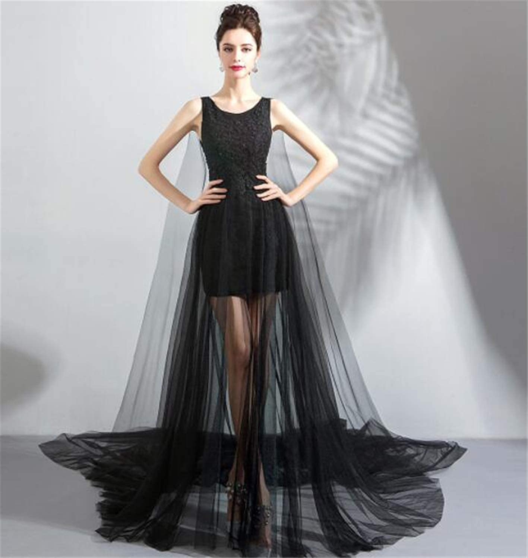 Elegant Mysterious Black Tulle Wedding Dress Evening Dress Beautiful Wedding Dress