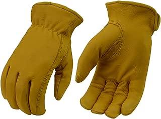 M Boss Apparel BOS37545 Mens Yellow Lined Full Grain Deerskin Gloves - Small