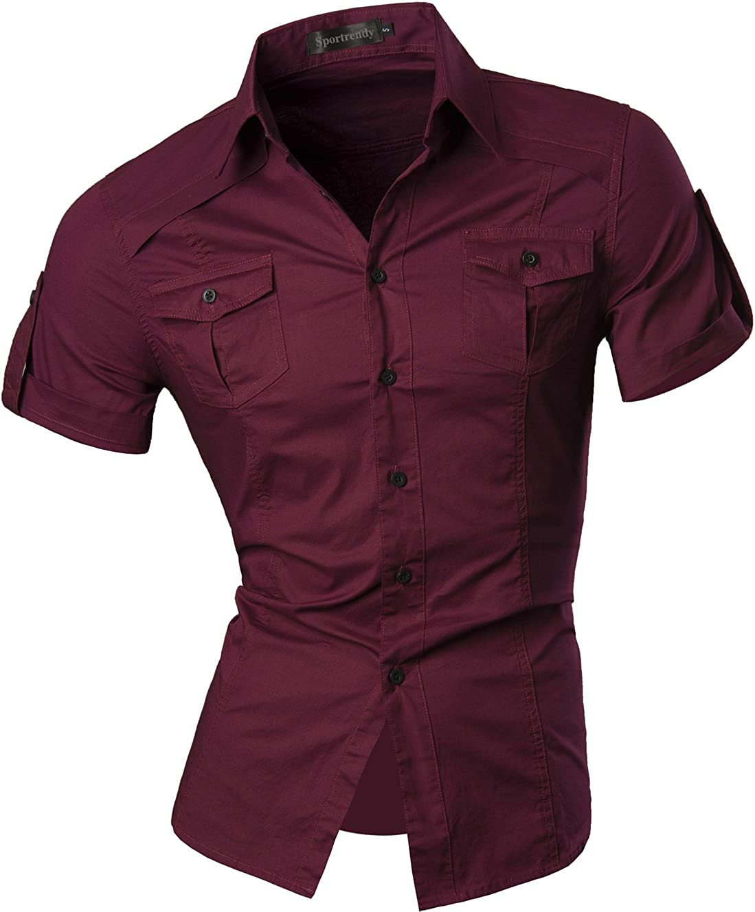Sportrendy Max 78% OFF Men's Slim Fit Casual Dress Sleeves Short Down Button Fort Worth Mall