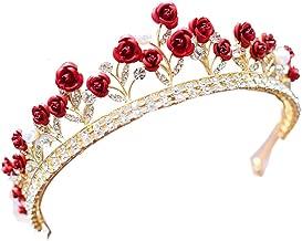 Crystal Red Rose Wedding Prom Crown Rhinestone Hair Jewelry Headband Bridal Veil Tiara