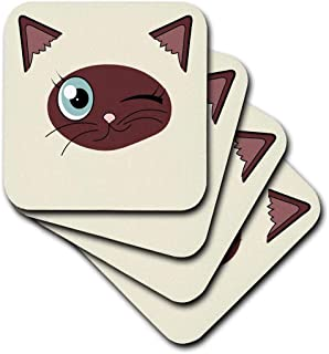 3dRose CST_165780_1 Cute Winking Cat Siamese Markings-Soft Coasters, Set of 4