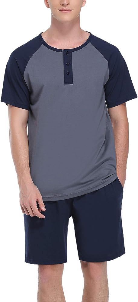 Hawiton, pigiama da uomo estivo, due pezzi,  100% cotone, blu scuro e grigio