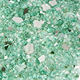 Barton Premium 1/2' inch Reflective Fire Glass 10lbs for Propane Fire Pit Fireplace Landscaping, Caribbean Blue