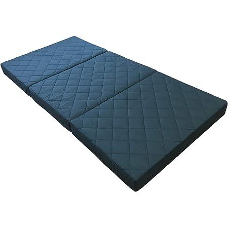 [アキレス] マットレス 腰かため 防ダニ 折りたたみ シングル 厚み12㎝ ふっくらキルト 三つ折り 腰痛 ブラック NEW-EMKN120BK