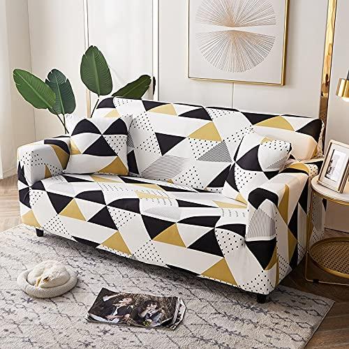 WXQY Geometric Pattern Elastic Sofa Cover Elastic L-Shaped Corner Sofa Cover Combination Dust-Proof Non-Slip Sofa Cover A3 3 Seater