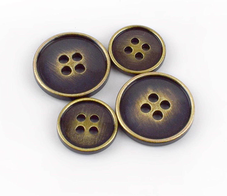 FTHYA 10//20 Piezas Botones de Metal 15//17//20//23 mm Bot/ón Retro de Bronce Plateado 4 Orificios para Abrigo Accesorio de Costura para Ropa