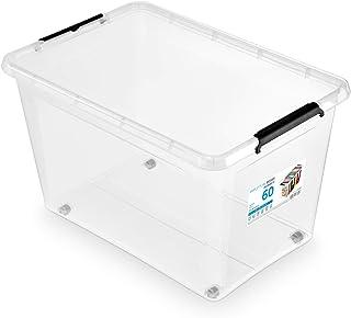 ORPLAST Lot de 6 boîtes à roulettes de 60 l avec couvercle/clips/roues – 58 x 39 x 35 cm – Transparent