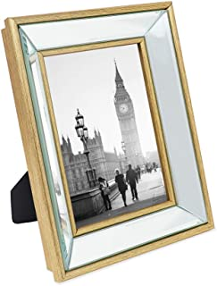 Isaac Jacobs 5x7 Gold Beveled Mirror Picture Frame - Classic Mirrored Frame with Deep Slanted Angle Made for Wall Décor Display, Photo Gallery and Wall Art (5x7, Gold)