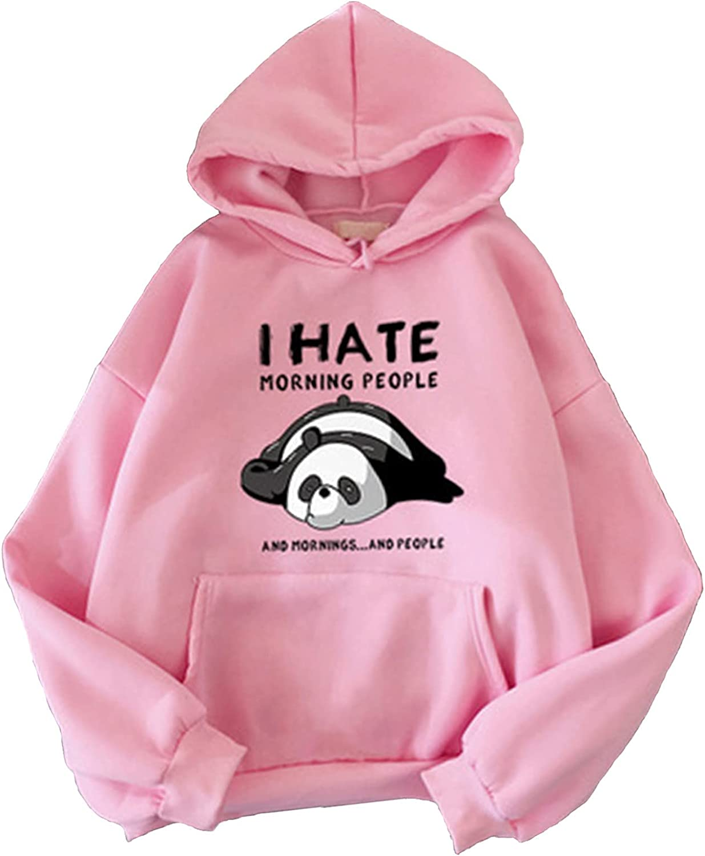Women's Autumn Hooded Pullover Withe Pocket Cute Cartoon Panda Printed Tops Drop Shoulder Loose Sweatshirts