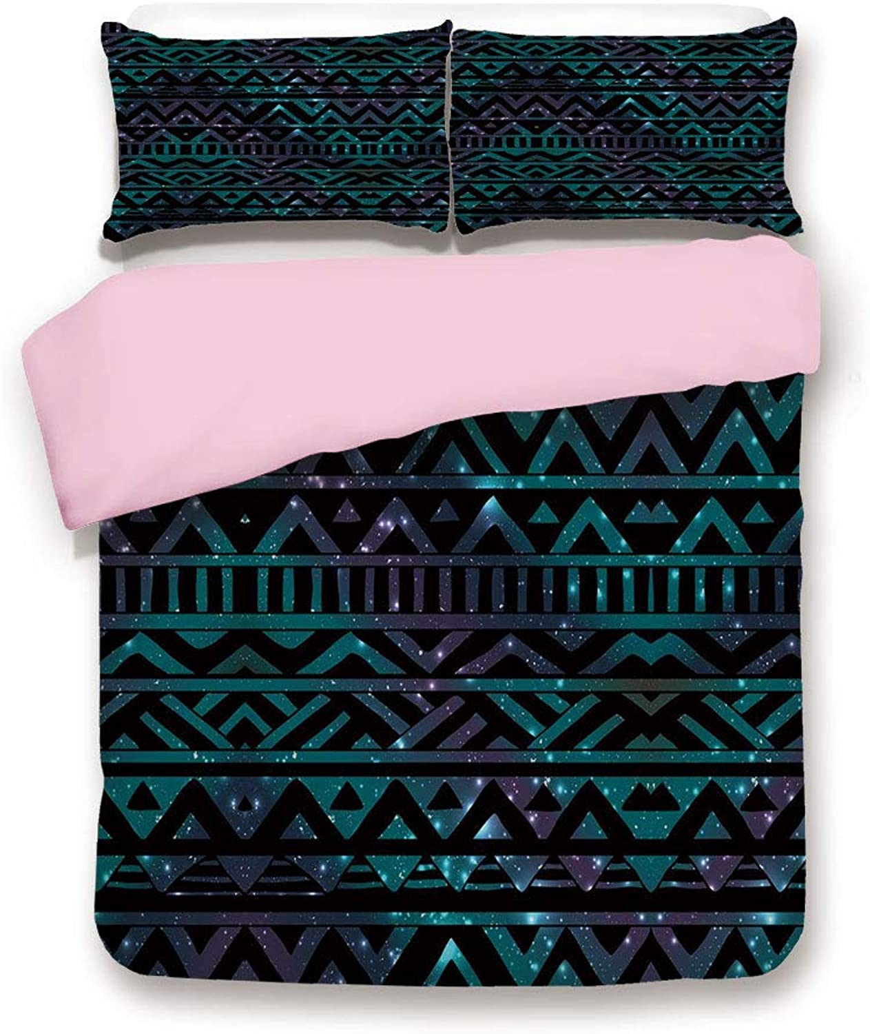 Pink Duvet Cover Set,King Size,Hand Drawn Space and Cosmos Themed Arrow and Triangle Pattern Vintage Aztec Motifs,Decorative 3 Piece Bedding Set with 2 Pillow Sham,Best Gift For Girls Women,Multicolor