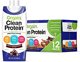 Orgain Grass Fed Clean Protein Shake, Creamy Chocolate Fudge - Meal Replacement, Ready to Drink, Gluten Free, Soy Free, Ko...