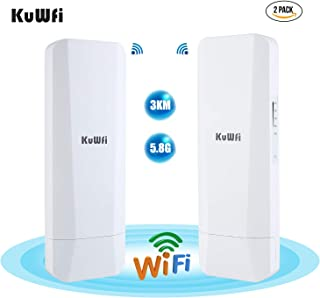 KuWFi 2-Pack 900Mbps 5.8G Outdoor Wireless Bridge Long Range Point to Point Transmitter Distance WiFi Transmitter 14DBi Hi...