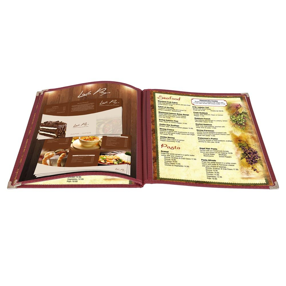 Direct store Yescom 30Pack 8.5x11inches 6 View 3 Covers Page Burgundy Tr Menu latest