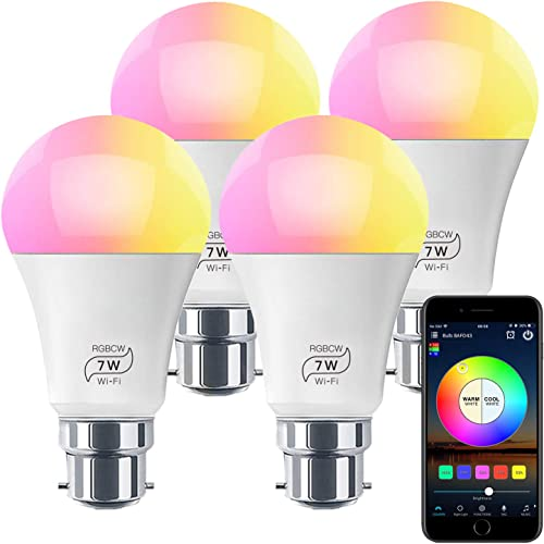HaoDeng WiFi LED Light, 4Pack Smart Bulb -Timer& Sunrise& Sunset- Dimmable, Multicolor, Warm White (Color Changing Di...