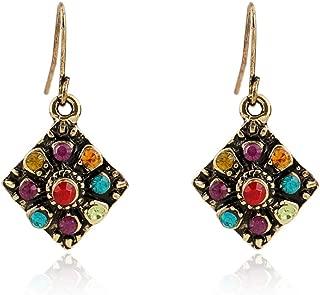 Vintage Bohemian Earrings for Women Fashion Ethnic Multicolor Rhinestone Drop Earrings Eardrop Wholesale boucle d'oreille