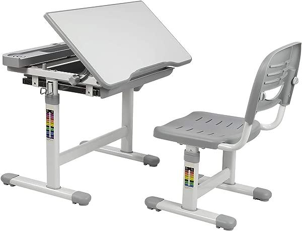 Mount It Kids Desk And Chair Set Height Adjustable Ergonomic Children S School Workstation With Storage Drawer Grey