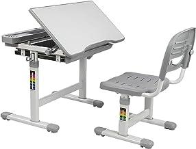 Mount-It! Children's Desk and Chair Set, Ergonomic Kids School Workstation, Grey