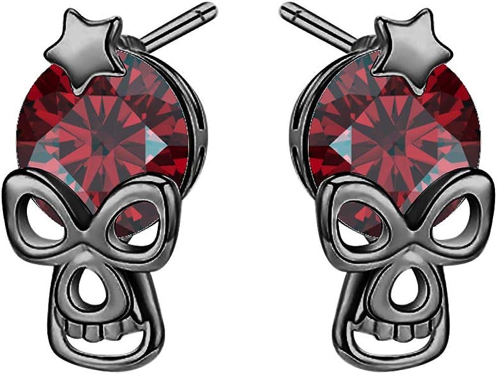 RUDRAFASHION Stunning 14k Trust Gold Free shipping New Plated Skull Earrings Red Ga Star