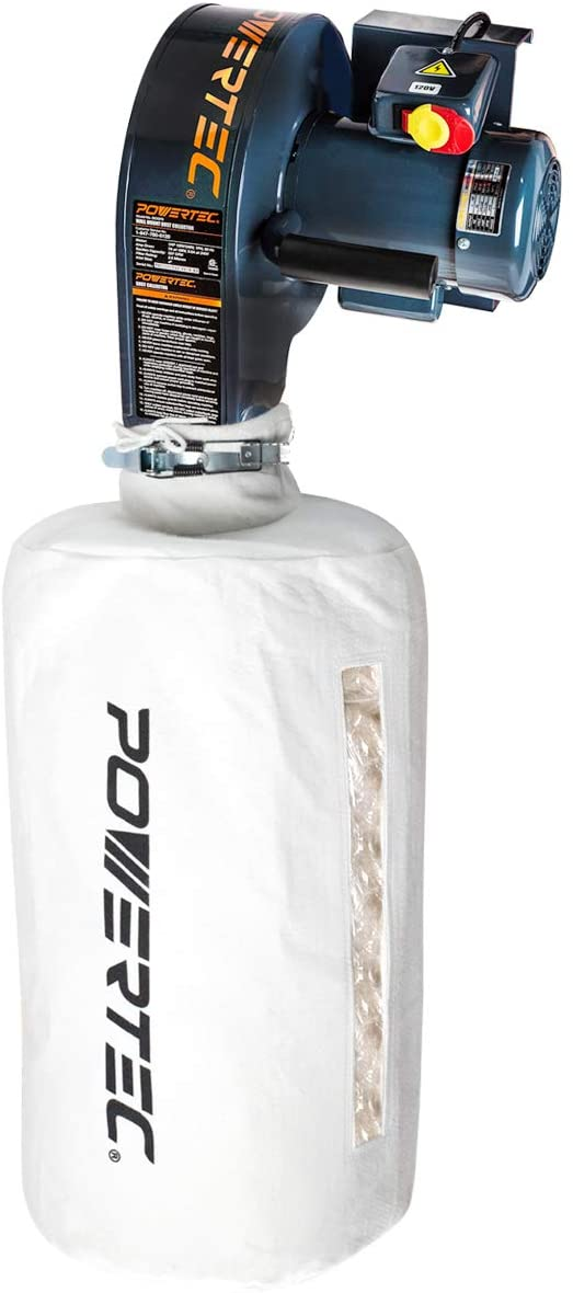 POWERTEC DC5370 Wall Mounted Dust Collector with 2.5 Micron Filter Bag | 537 CFM - -
