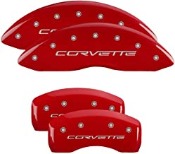 MGP Caliper Covers 13008SCV6RD, Caliper Cover Compatible With Corvette C6, Logo Type Brake Cover with Red Powder Coat Finish and Silver Characters, 4 Pack