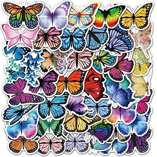 JIAQI Pegatinas de mariposas coloridas para portátil, monopatín, guitarra, papel de carta, DIY, nevera, coche, botella, juguetes para niños, 50 unidades