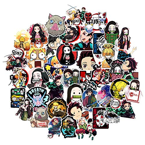 STKCST Dibujos Animados de Anime Demon Slayer Paquete Pegatinas Bricolaje Cuaderno Creativo Etiqueta Adhesiva Decoración Maleta Pegatinas Coche Impermeable Colorido Lindo Vinilo estético engomada