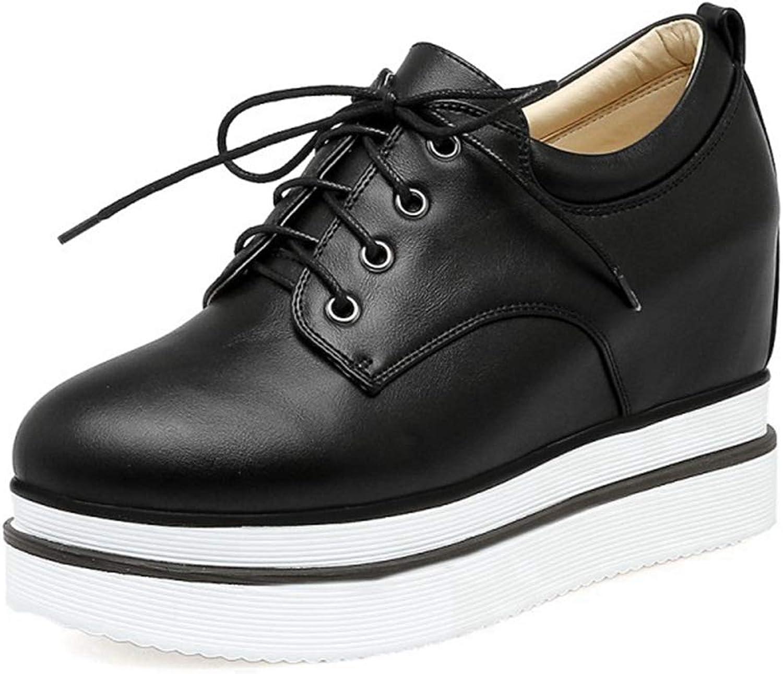 CYBLING Womens Hidden High Heel Platform Sneakers Comfort Wedge Lace Up Walking shoes