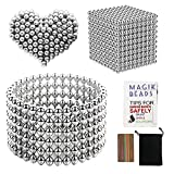1000 Pieces 3 Millimeter M-agnets Balls Building Game Building Blocks Toys for Intelligence Learning Development and Creative Educational Toy, Office Desk Toy & Stress Relief - Silver