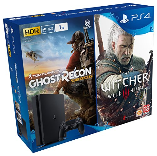 Playstation 4 Slim Console 1 Tb + Ghost Recon : Wildlands + The Witcher 3