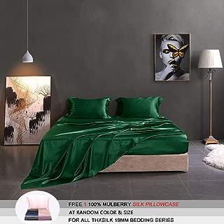 THXSILK 19mm Silk Flat Sheet, 1 Flat Sheet ONLY, High End Collection Silk Bed Sheet, Ultra Soft Pure Mulberry Silk Bedding-, Durable (King/Cal.King, Emerald Green)