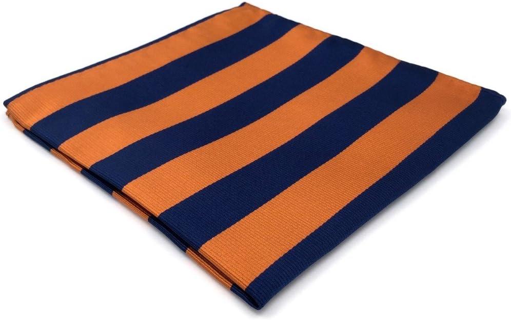 Tomeco EH27 Navy Orange Striped Silk Mens Pocket Square Wedding Dress Handkerchief Classic Hanky