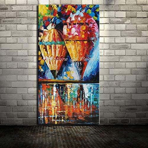 LKJHGU Sin Marco Cuchillo de Paleta Pintado lámpara de Calle y árboles Pinturas al óleo sobre Lienzo Cuadros Abstractos Modernos para decoración de Pared del hogar