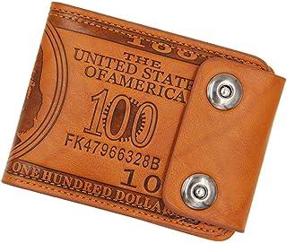BeniNew men's wallet short multi-function casual double buckle wallet-D02-1 brown