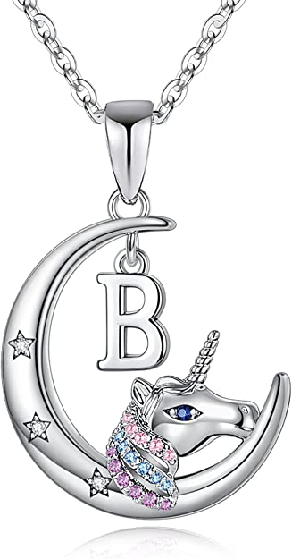 Hidepoo Unicorns Gifts for Girls Necklace, 14K White Gold Plated Crescent Moon Pendant Unicorn Necklaces for Girls Colorful CZ Initial Unicorn Necklace Kids Jewelry Unicorn Gifts for Girls Women